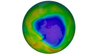 Capa de ozono (fecha 4 de noviembre) sobre el Polo Sur.