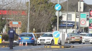 The road in Bridgend, County Donegal, has been closed following the incident