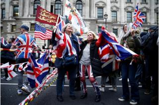 People celebrate Britain leaving the EU on Brexit day in London.