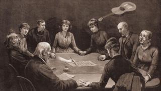 Ilustração representa encontro de médiuns