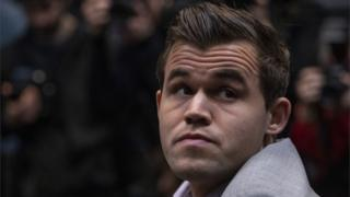Magnus Carlsen at the 2018 World Chess Championship in London