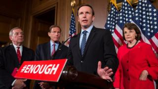 US Democratic Senator from Connecticut Chris Murphy (C) speaks to the media after a series of procedural votes on gun legislation in the US Capitol in Washington, DC, USA, 20 June 2016.