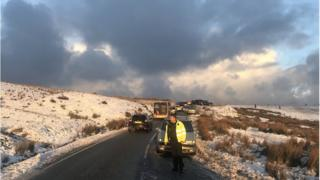 Photo of cars blocking a pass on the Preseli Hills