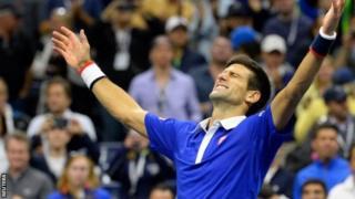 Novak Djokovic celebrates his US Open win