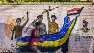 A mural showing soldiers standing with the protesters in Khartoum, Sudan