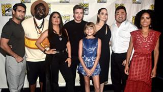 The Eternals stars Kumail Nanjiani, Brian Tyree Henry, Salma Hayek, Richard Madden, Lia McHugh, Angelina Jolie, Don Lee and Lauren Ridloff