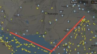 جہازوں کے روٹ کا نقشہ
