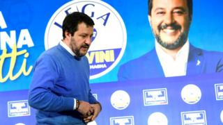 Leader of Italy's far-right League Party Matteo Salvini seen after polls close for the Emilia-Romagna regional election, in Bologna, Italy, 27 January 2020