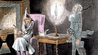 Jacob Marley's ghost appears before Ebenezer Scrooge