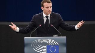 Le président français Emmanuel Macron lors de son adresse au Parlement de l'UE à Strasbourg.