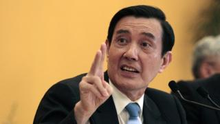 Taiwanese President Ma Ying-jeou speaks during a press conference at the Shangri-la Hotel