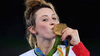 Jade Jones with gold medal