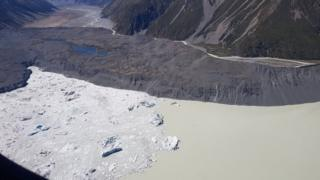 Aerial view of Tasman Glacier and lake
