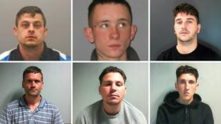 The six men jailed. From top left clockwise: Andrew Hardy, Graham Thom, George Flannigan, William Stewart, Shaun Doyle and Mark Genery.