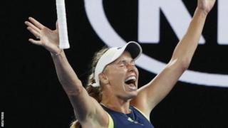 Caroline Wozniacki spread am as she win match