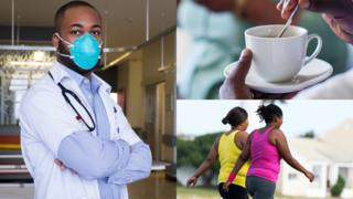 Left: Doctor in a mask in South Africa. Top right: Someone drinking a cup of tea in South Africa. Bottom right: Two women walking in South Africa