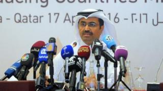"Qatari Minister of Energy and Industry Mohammed Saleh al-Sada attends a news conference following the oil-producers"" meeting at Sheraton Hotel in Doha, Qatar"