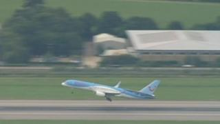 A Thomson Airways plane taking off from Gatwick