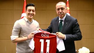 Turkish President Tayyip Erdogan meets with football player Mesut Ozil in London, May 13, 2018
