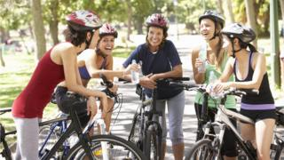 Group of women cycling