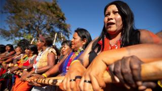 Indigenous women of different ethnic groups participate in the Indigenous Women March in Brasilia