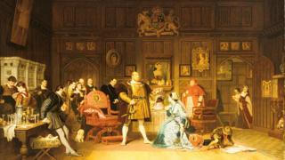Enrique VIII y Ana Bolena, observados por la reina Catalina de Aragón, que está en la puerta, y un grupo de cortesanos. Pintura de Marcus Stone, 1870. Colección privada.