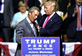 Donald Trump greets Nigel Farage at the Mississippi Coliseum, Jackson, 2016