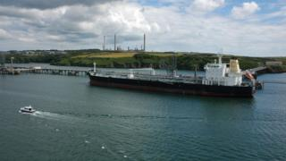 Ship and Milford Haven oil refinery in the background