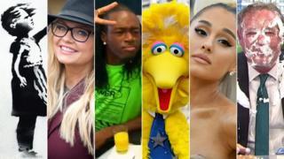 Banksy's artwork, Emma Bunton, an X Factor hopeful, Big Bird, Ariana Grande, Piers Morgan