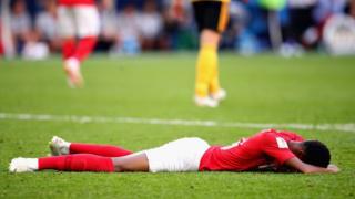 E be like say Marcus Rashford of England dey cry afta di kontri cari fourth for di World Cup