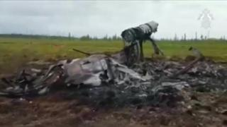 Ground video from crash site of helicopter in Russia