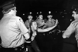 Youth confronts police outside Stonewall Inn