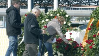 Flowers laid at Barcelona airport in memory of the Germanwings crash. 23 March 2016