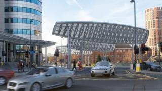 Artists' impression of the screens to block high winds around Bridgewater Place