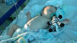 Baby Ares Banister in hospital