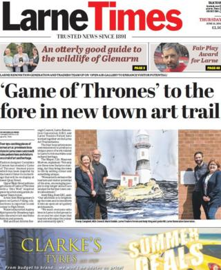 The front page of this week's Larne Times