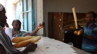 Baguette seller in Djibouti