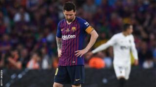 Lionel Messi yatsinze igitego cye cya 28 atsinze Valencia mu marushanwa yose - ariko nticyari gihagije ku kibuga Estadio Benito Villamarin