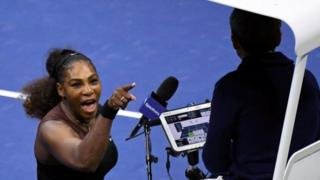 Serena Williams argues with chair umpire Carlos Ramos at the US open