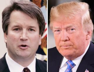 A composite image showing Brett Kavanaugh and President Donald Trump