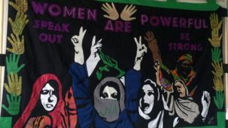 The Scottish Refugee Council created a banner with women from the refugee community in Glasgow, working with Iranian artist Paria Goodarzi