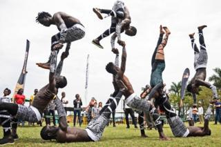 Uganda acrobats performing in Kampala, Uganda - Saturday 25 August 2018