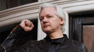 Julian Assange pictured at the Ecuadorean embassy in London