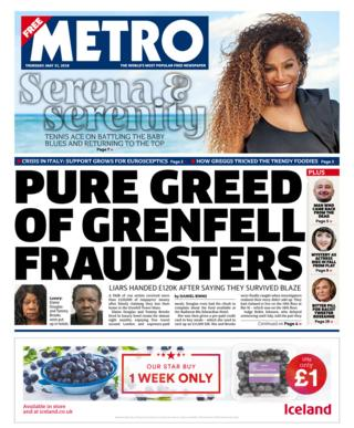 Metro front page - 31/05/18