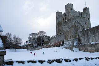 Rochester Castle surrounded by snow