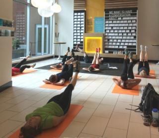 Yoga class at Umpqua Bank in Portland, Oregon