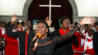 Singers pictured at a special service in the Anglican Cathedral in Nairob