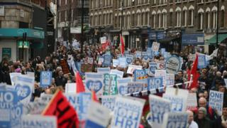 Thousands marching in protest to NHS funding