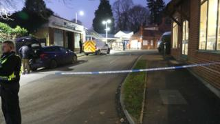 The scene at Horsley station near Guildford