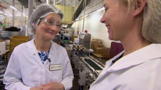A worker at Beech's chocolate factory speaks to Katie Razzall